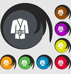 Bathrobe icon sign Symbols on eight colored vector