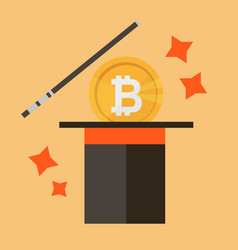 bitcoin icon concept of money and magic vector image