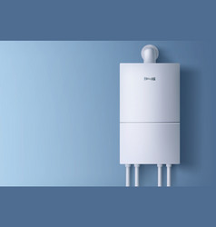Boiler electronic water heater hanging on wall vector