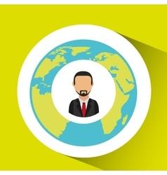 Businessman social media world map vector