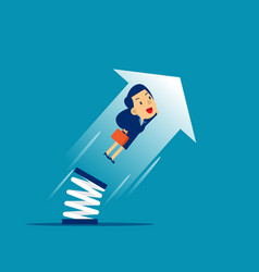 Businesswoman high jump with springboard concept vector