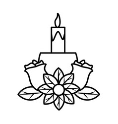 Candlestick with flowers in white background vector