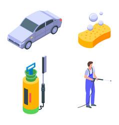 Car wash icons set isometric style vector