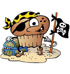 Cartoon a happy muffin pirate vector