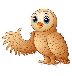 cartoon funny owl waving vector image