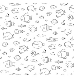 Cartoon Seamless Pattern Funny Childish Fish Black vector image