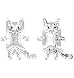 cat maze vector image