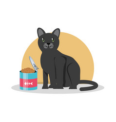 Cat wirh can food vector