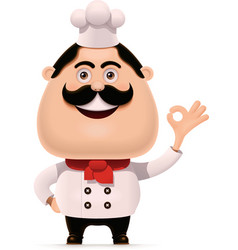 Chef with mustache showing approving vector