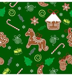 Christmas seamless texture with Christmas vector image