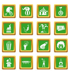 Circus entertainment icons set green vector