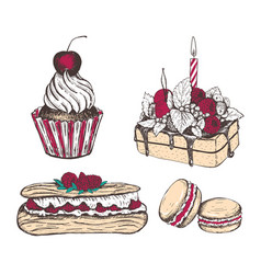 Collection sweets vector