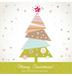 Colorful design Christmas tree with xmas toys vector