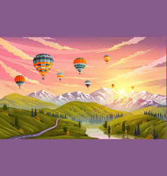 colorful hot air balloons flying over mountain vector image