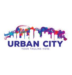 creative urban city logo template vector image