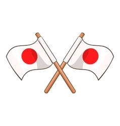 Crossed flags of Japan icon cartoon style vector image