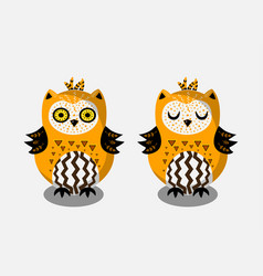 cute bright indian hand drawn owl characters vector image