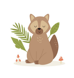 Cute funny raccoon sitting on a forest lane vector