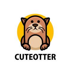 cute otter cartoon logo icon vector image