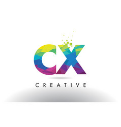 cx c x colorful letter origami triangles design vector image
