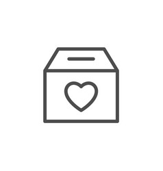 donation box line icon vector image