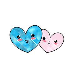 doodle kawaii nice heart couple together vector image