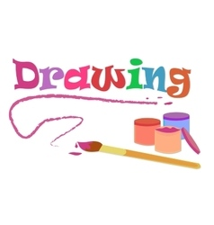 drawing with brush and colors vector image