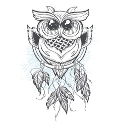 Dreamcatcher with owl feathers vector