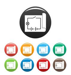 Electric scheme icons set color vector