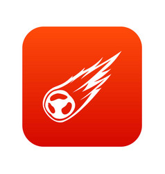 Falling meteor with long tail icon digital red vector