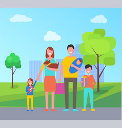 family walk outdoors in city park mother with dog vector image