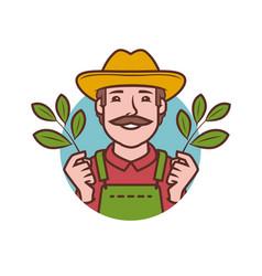 farmer symbol farm agriculture healthy food vector image