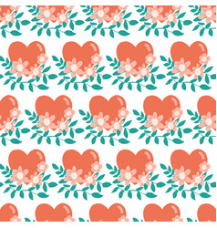 floral hearts seamless pattern repeating vector image