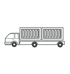 freight car cargo truck isolated icon trailer vector image