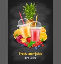 Fruit and berries smoothie vector