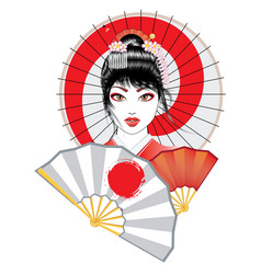 Geisha with fan and umbrella vector