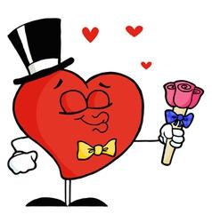 Gentleman Heart Holding Roses vector image
