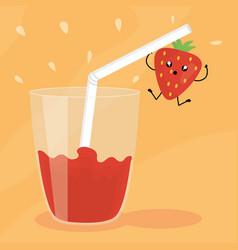 Glass with juice strawberry fresh fruit kawaii vector