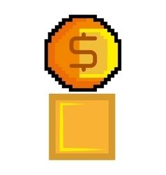 gold coin pixel game figure vector image