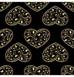 gold hearts seamless vector image
