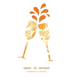 Golden art flowers toasting wine glasses vector