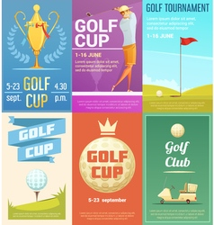 Golf Club 6 Retro Posters Set vector
