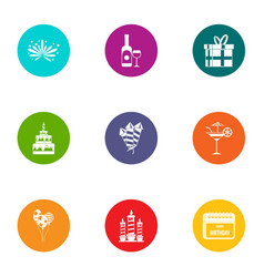 Good party icons set flat style vector