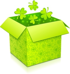 Green gift box with clovers inside vector image