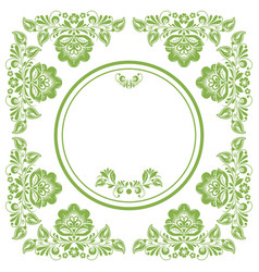 Greenery ecology russian floral frame background vector
