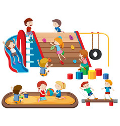 group of people kids at playground vector image