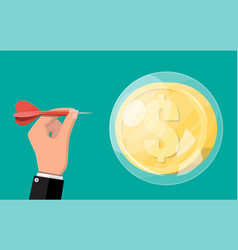 Hand throw dart in soap bubble with dollar coin vector