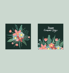 Happy women s day march 8 cute card for spring vector