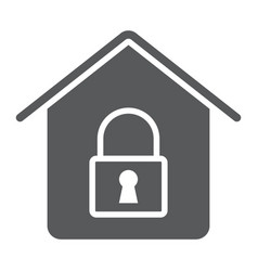 home lock glyph icon real estate and home vector image