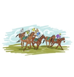 Horse racing sketch for your design vector image